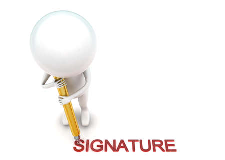 putting: 3d man putting signature using pen concept in white isolated background - 3d rendering ,  top angle view