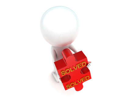 solved: 3d man holding puzzle in hands with solved text concept  in white isolated background - 3d rendering ,  top angle view Stock Photo