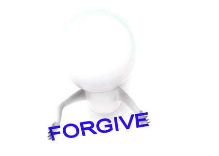 to forgive: Hombre 3d en la celebraci�n de la rodilla perdona concepto de texto en fondo blanco aislado - 3D, �ngulo de vista superior