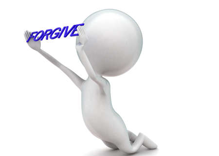 forgive: 3d man on knee holding forgive text concept in white isolated background - 3d rendering ,  side angle view