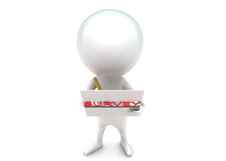 filling out: 3d man filling out survey concept in white isolated background - 3d rendering ,  top angle view