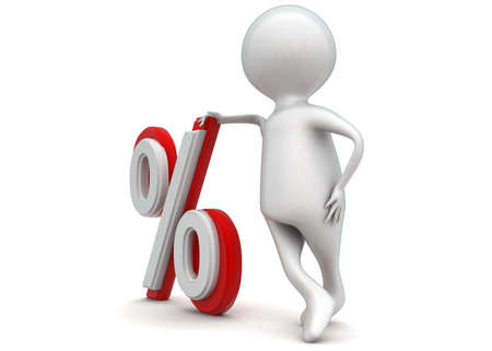 percentage sign: 3d man presenting percentage sign concept in white isolated background - 3d rendering ,  side angle view