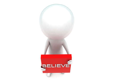 text box: 3d man holding red box with believe text concept in white isolated background - 3d rendering ,  top angle view