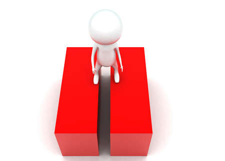 guy standing: 3d man standing inbetween two red blocks concept in white isolated background - 3d rendering ,  top angle view