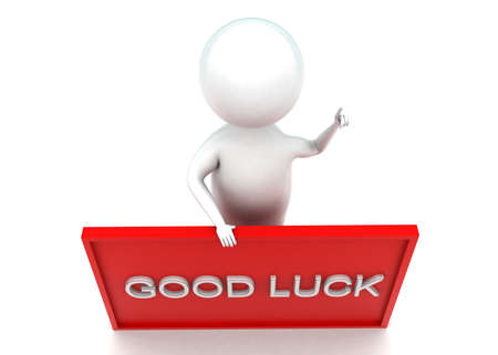 lucky man: 3d man presenting good luck text in banner concept in white isolated background - 3d rendering ,  top angle view Stock Photo