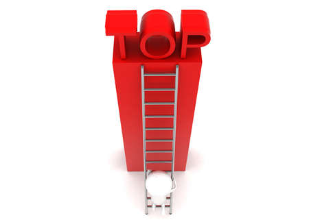 climbing up: 3d man climbing up to top using ladder concept in white isolated background - 3d rendering , top angle view