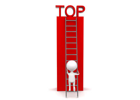 climbing up: 3d man climbing up to top using ladder concept in white isolated background - 3d rendering , front angle view Stock Photo