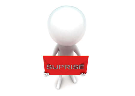 suprise: 3d man presenting suprise text concept in white isolated background - 3d rendering , top angle view