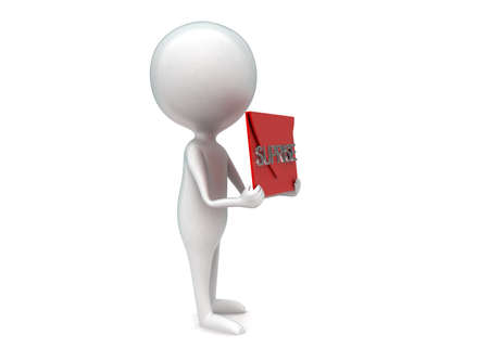 suprise: 3d man presenting suprise text concept in white isolated background - 3d rendering , side angle view