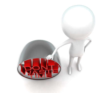 waste 3d: 3d man presenting dont waste time concept in white isolated background - 3d rendering , top angle view