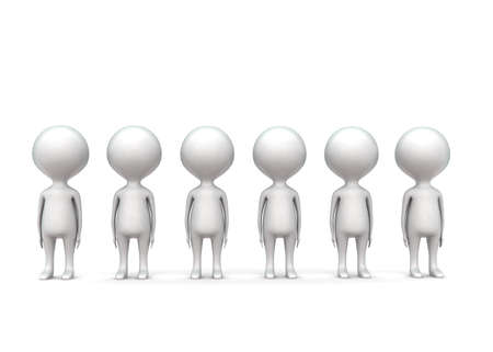 men standing: 3d group of men standing concept in white isolated background - 3d rendering , front angle view