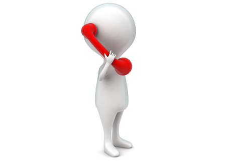 reciever: 3d man holding telephone reciever in hands concept in white isolated background - 3d rendering , side angle view