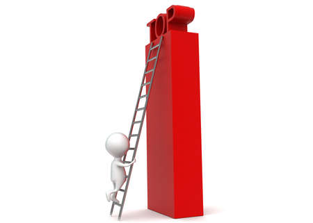 climbing up: 3d man climbing up to top using ladder concept in white isolated background - 3d rendering , side angle view