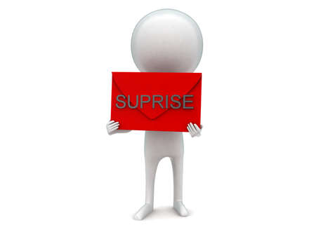 suprise: 3d man presenting suprise text concept in white isolated background - 3d rendering , front angle view