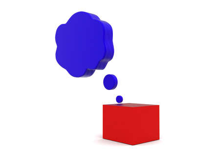 contemplate: 3d thinking box concept in white isolated background - 3d rendering ,          side angle view