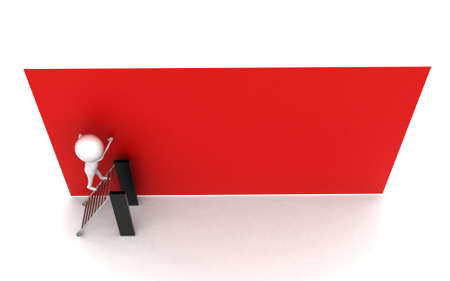 paste: 3d man going to  paste something on wall concept in white isolated background - 3d rendering , top angle view