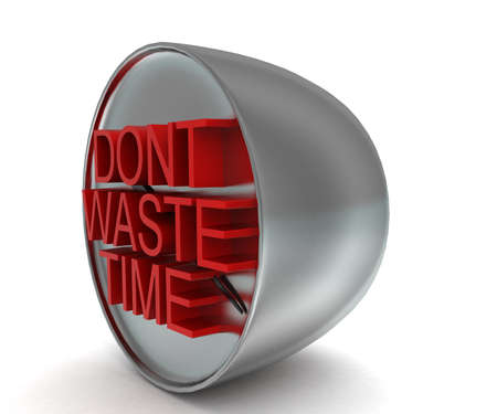 waste 3d: 3d   dont waste time conceptin white isolated background - 3d rendering , side angle view