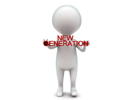 new generation: 3d man holding new generation text concept in white isolated background - 3d rendering ,  front angle view Stock Photo