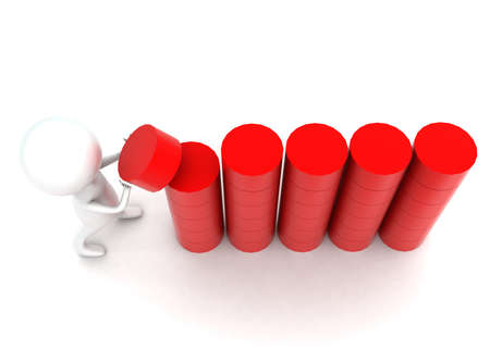 arranging: 3d man arranging cylindrical shapes in a row concept in white isolated background - 3d rendering ,  top angle view Stock Photo