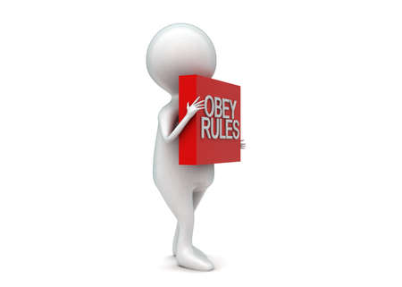 obey: Hombre 3d que presenta el texto de reglas obedecen proyecta sobre un concepto de caja en el fondo blanco aislado - 3D, la vista de �ngulo lateral