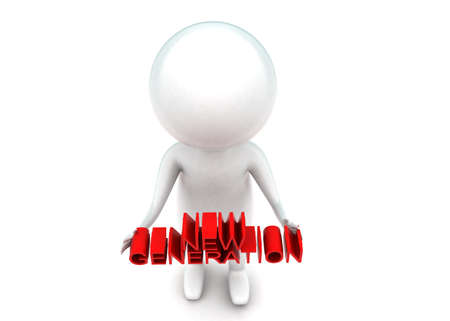 new generation: 3d man holding new generation text concept in white isolated background - 3d rendering ,  top angle view
