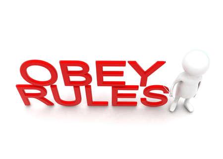 obey: Hombre 3d que presenta reglas obedezca concepto de texto en fondo blanco - 3d representación, ángulo de vista superior
