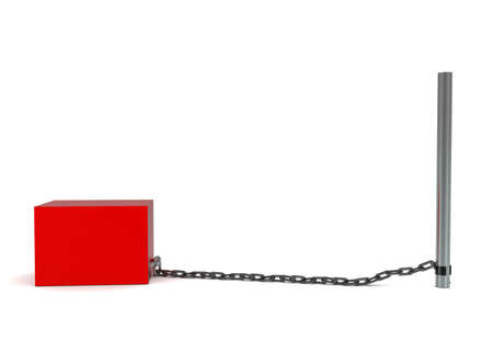 chaining: 3d box chained to a rod concept  in white isolated background - 3d rendering ,  side angle view