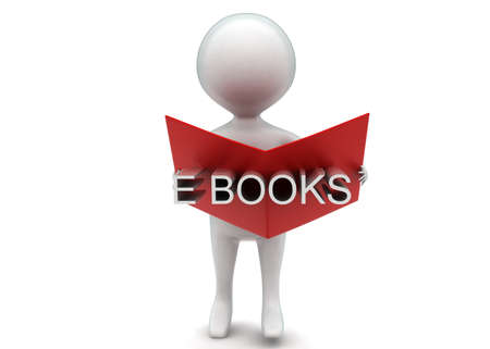 e book: 3d man reading e book concept in white isolated background - 3d rendering ,  front angle view