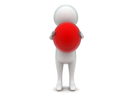 3d ball: 3d man holding a red ball in hands concept in white isolated background - 3d rendering ,  front  angle view