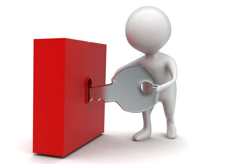 unlocking: 3d man unlocking a box concept in white isolated background - 3d rendering ,  side angle view Stock Photo