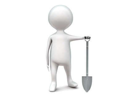 digger: 3d man presenting mud digger concept in white isolated background - 3d rendering ,  front angle view
