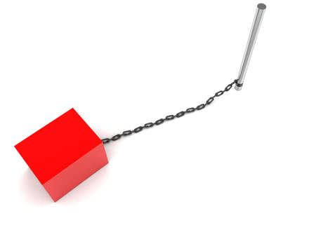 chaining: 3d box chained to a rod concept  in white isolated background - 3d rendering ,  top angle view