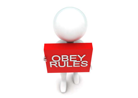 obey: Hombre 3d que presenta el texto de reglas obedecen proyecta sobre un concepto de caja en el fondo blanco aislado - 3D, �ngulo de vista superior
