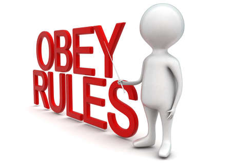 obedecer: Hombre 3d que presenta reglas obedezca concepto de texto en fondo blanco aislado - 3D, la vista de �ngulo lateral