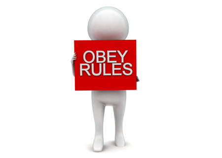 obey: Hombre 3d que presenta el texto de reglas obedecen proyecta sobre un concepto de caja en el fondo blanco aislado - 3D, la vista de �ngulo frontal Foto de archivo