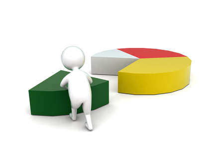 arranging: 3d man arranging pie chart concept in white isolated background - 3d rendering ,  back angle view