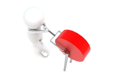 status: 3d man changing lever switch  status concept in white isolated background - 3d rendering ,  top angle view Stock Photo