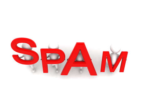spamming: 3d men holding spam text concept in white isolated background - 3d rendering ,  top angle view Stock Photo