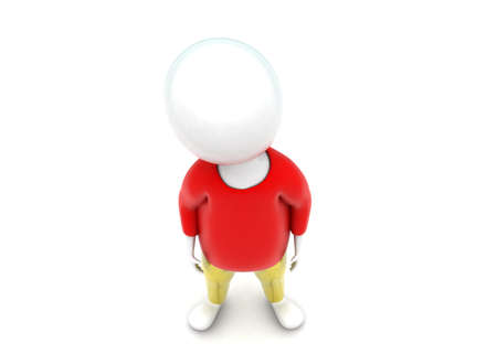 pant: 3d man wearing tshirt and pant concept in white isolated background - 3d rendering , top angle view
