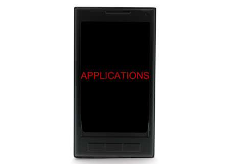 projected: 3d mobile phone - application text projected concept in white isolated background - 3d rendering , front angle view