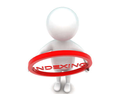 indexing: 3d man holding circle with indexing text inside it concept in white isolated background - 3d rendering , top angle view