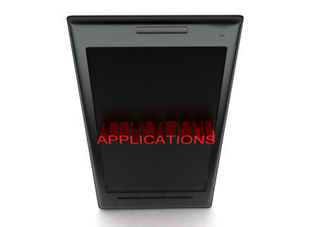 projected: 3d mobile phone - application text projected concept in white isolated background - 3d rendering , top angle view Stock Photo