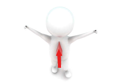 projecting: 3d man hands raising and arrow projecting on body concept in white isolated background - 3d rendering ,  top angle view