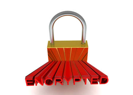 projected: 3d lock with encrpted text projected concept in white isolated background - 3d rendering ,  top angle view Stock Photo