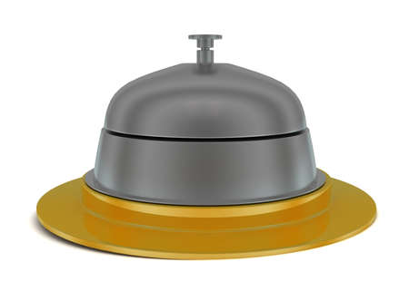 service bell: 3d service bell concept in white isolated background - 3d rendering ,           front angle view Stock Photo