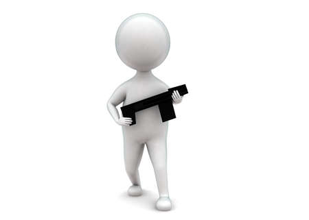 man holding gun: 3d man holding gun in hand concept in white isolated background - 3d rendering ,  front angle view Stock Photo