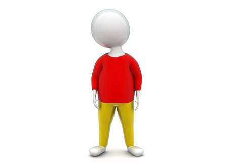 pant: 3d man wearing tshirt and pant concept in white isolated background - 3d rendering ,  front angle view Stock Photo