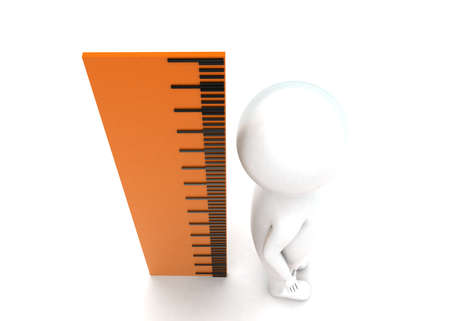measure height: 3d man measuring height using scale concept in white isolated background - 3d rendering , top angle view