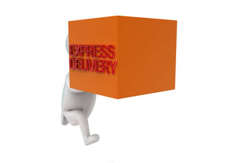 projecting: 3d man holding cargo projecting express delivery concept in white isolated background - 3d rendering , front angle view