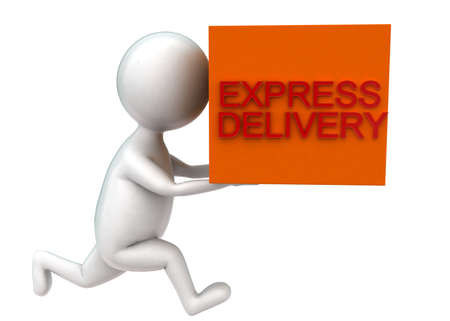 projecting: 3d man holding cargo projecting express delivery concept in white isolated background - 3d rendering , side angle view Stock Photo